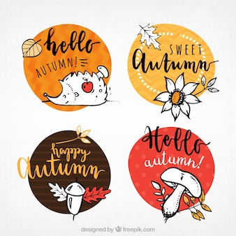 Etichette moderne autunno con stile divertente