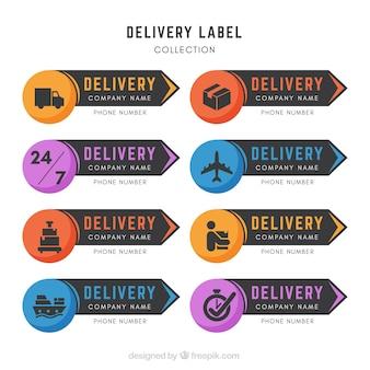 Etichette moderne di consegna con icone