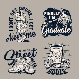 Etichette monocromatiche college vintage