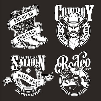 Etichette monocromatiche wild west