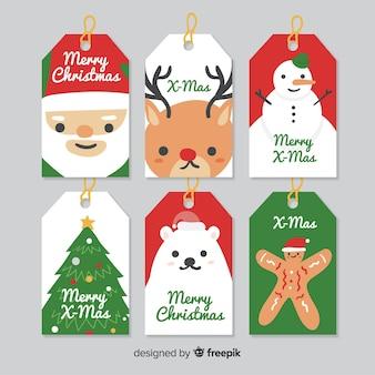 Etichette natalizie collezione di caratteri semplici