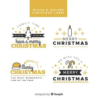 Etichette natalizie nere e dorate