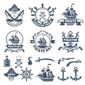 Etichette nautiche e da pirata vintage. loghi monocromatici di mare e vela