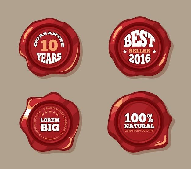 Etichette premium su francobolli con sigillo di cera