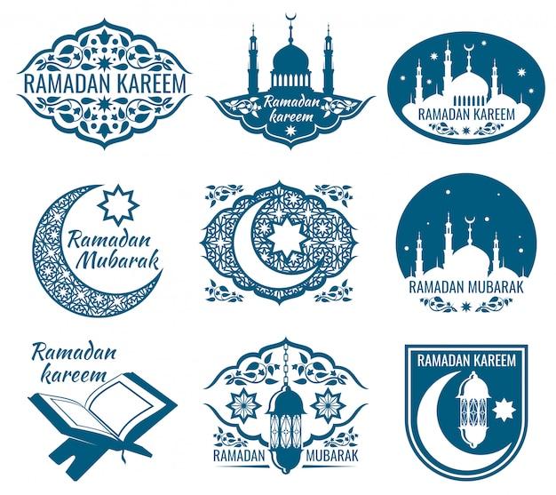 Etichette ramadan kareem. distintivi d'epoca con calligrafia islamica araba.