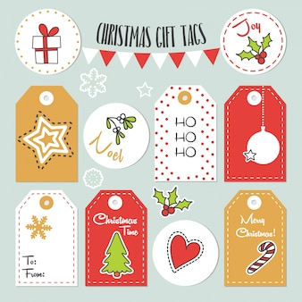Etichette regalo di natale con illustrazioni invernali e naturali