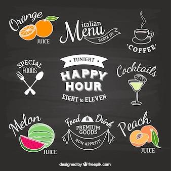 Etichette ristorante sulla lavagna