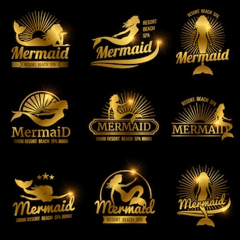Etichette sirena d'oro. design di loghi lucido resort beach spa