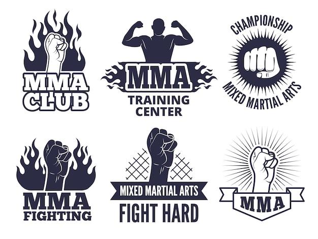 Etichette sportive marziali per combattenti di mma