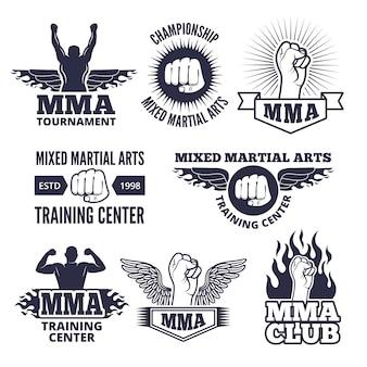 Etichette sportive monocromatiche per combattenti di mma