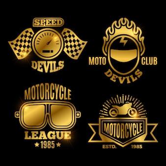 Etichette sportive moto d'oro e moto