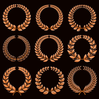 Etichette vincitore con set vettoriale di corone di alloro d'oro