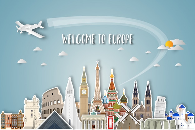 Europa famosa carta d'arte punto di riferimento