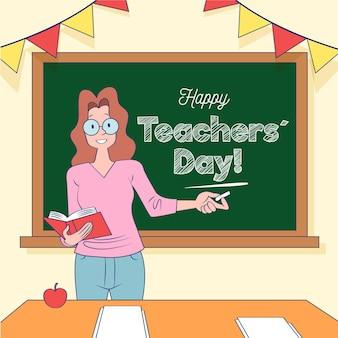 Evento del giorno degli insegnanti di design disegnato a mano