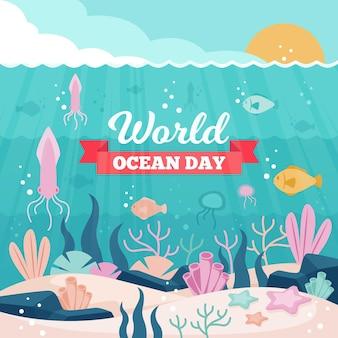 Evento del giorno degli oceani con pesce
