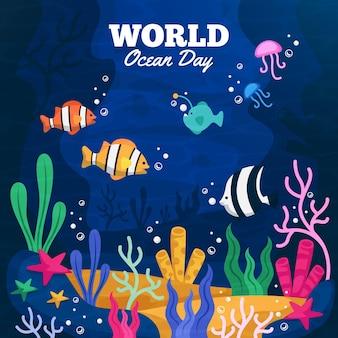 Evento del giorno degli oceani con pesci