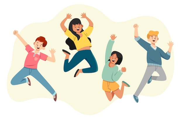 Evento della giornata della gioventù con gente che salta