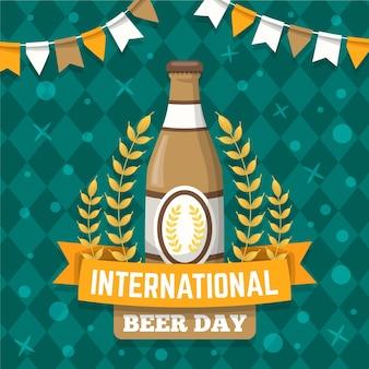 Evento internazionale della giornata della birra con foglie di luppolo e ghirlanda