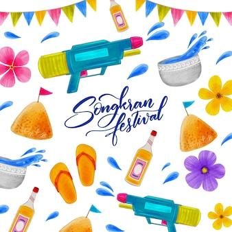 Evento songkran con disegno ad acquerello