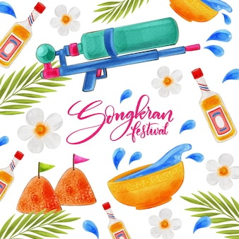 Evento songkran in stile acquerello