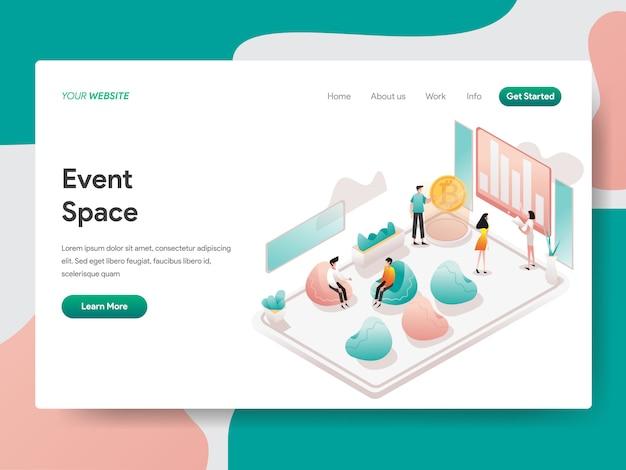 Evento spazio illustrazione isometrica. pagina di destinazione