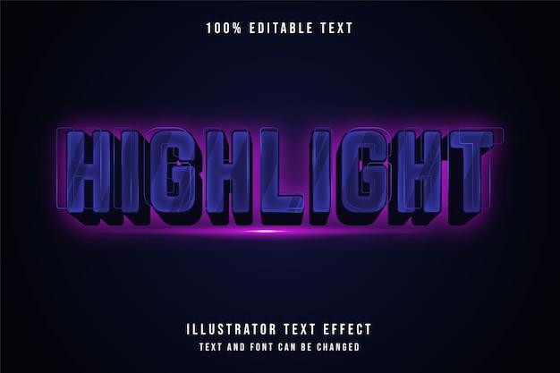Evidenzia, effetto di testo modificabile 3d effetto neon gradazione blu