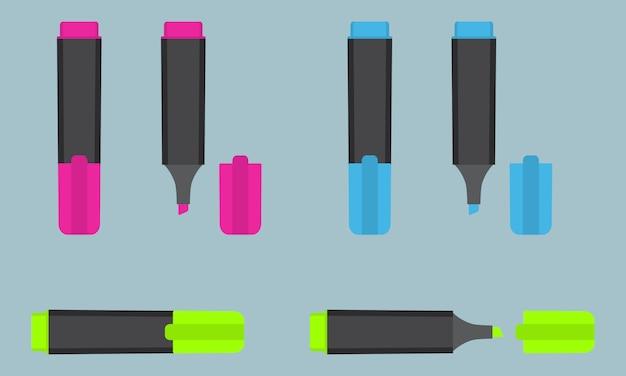 Evidenziatore di testo permanente in tre diversi colori: rosa, blu, verde. cancelleria per ufficio.