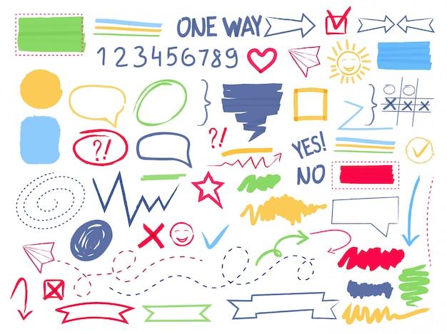 Evidenziazione marcatore. penna da colorare scribble selezione frecce cornici e bordi ovali cerchio quadrati forme vettoriali