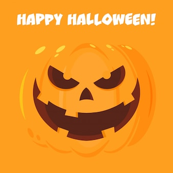 Evil halloween pumpkin cartoon emoji face character