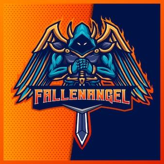 Evil knight esport e logo della mascotte sportiva