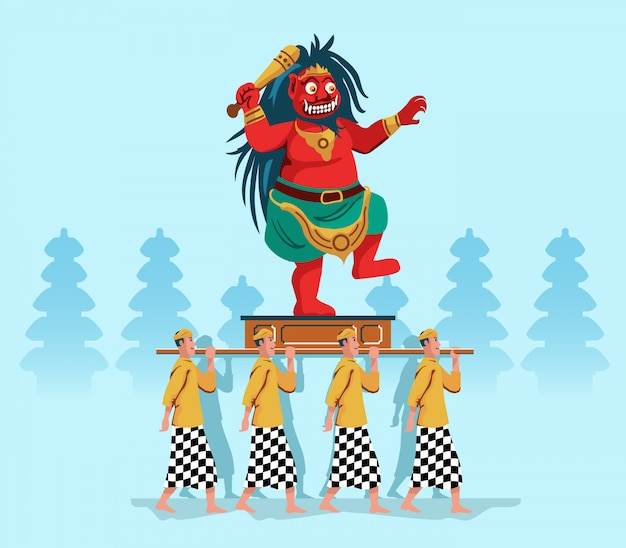 Evil spirit statue parade by hindu bali people