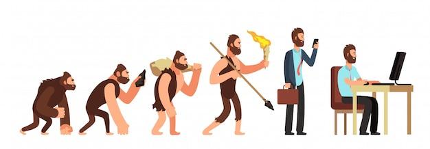 Evoluzione umana. da scimmia a uomo d'affari e utente di computer. personaggi dei cartoni animati vettoriali