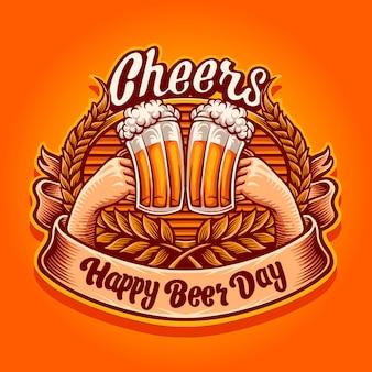 Evviva, felice illustrazione della giornata della birra