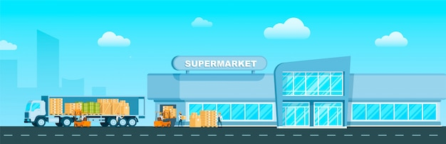 Express truck consegna merci al supermercato