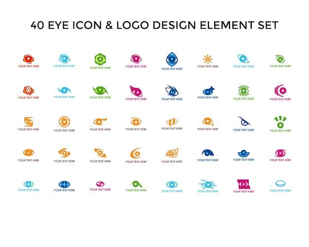 Eye icon logo design set