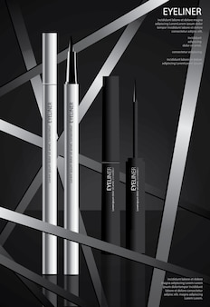 Eyeliner cosmetico con packaging poster design