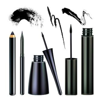 Eyeliner e attrezzo per visage con pennellate