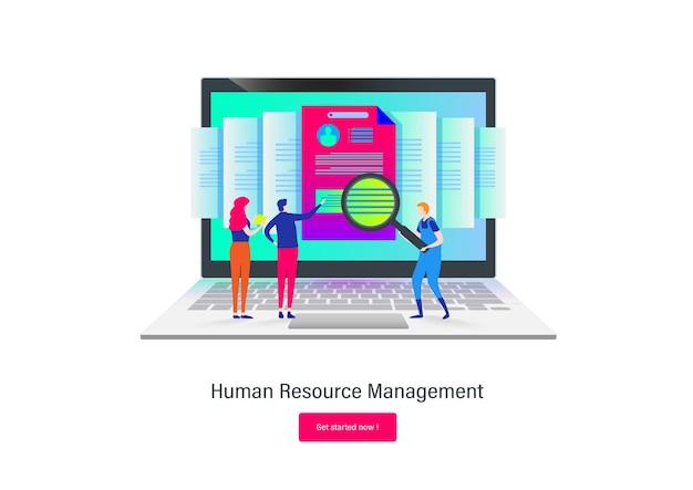 Fabbisogno di risorse umane cartone piatto.