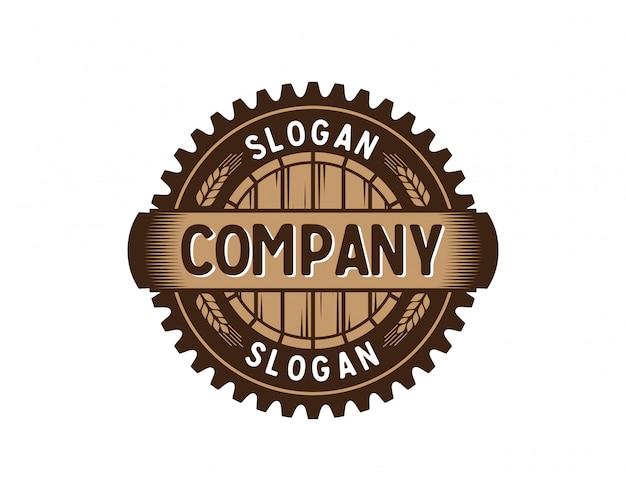 Fabbrica dell'ingranaggio del barilotto con frumento logo d'annata logo circle