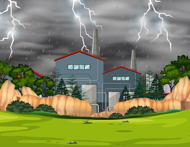 Fabbrica in tempesta in un parco