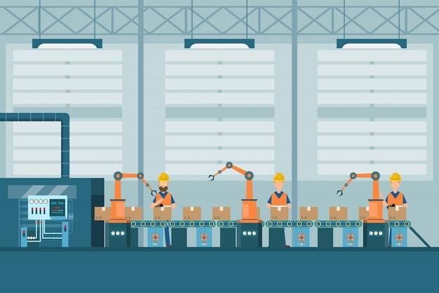 Fabbrica industriale intelligente in stile piatto con lavoratori, robot e imballaggi in linea di assemblaggio