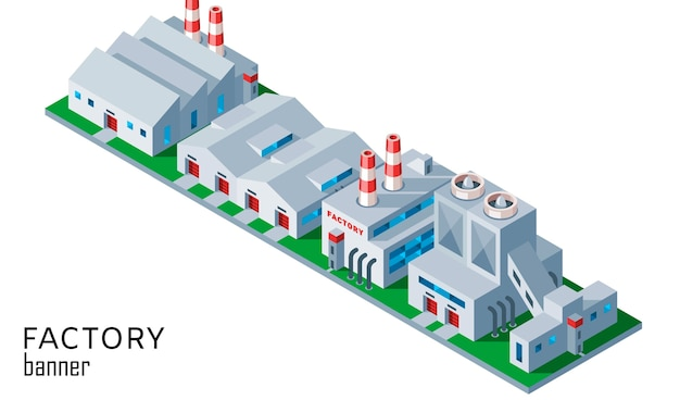 Fabbrica industriale isometrica e costruzione del magazzino