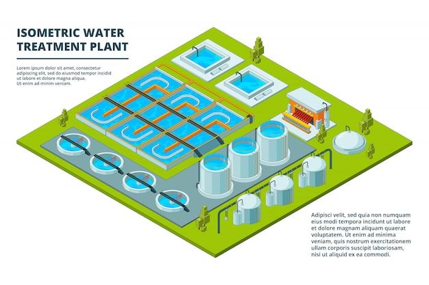 Fabbrica per la pulizia dell'acqua. impianti di depurazione delle acque reflue per l'industria delle acque reflue e processi di immagini isometriche