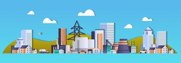 Fabbriche di fabbriche industriali zona industriale con tubi