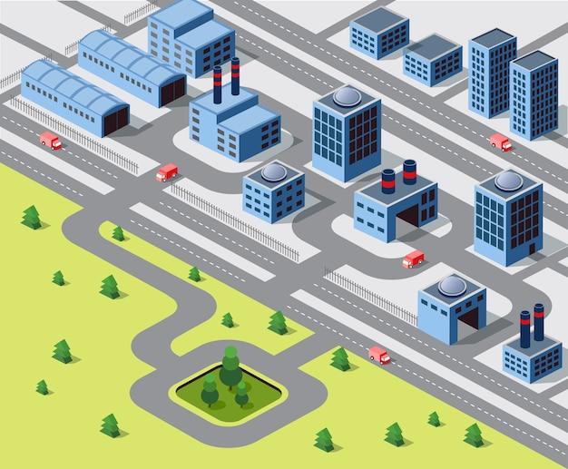 Fabbriche, magazzini e edifici per uffici nelle aree urbane delle grandi città