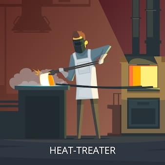 Fabbro che tratta l'acciaio di calore sul poster di cartone animato retrò incudine di tempra