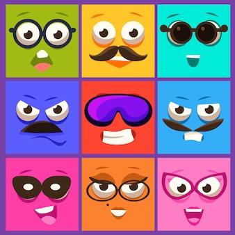 Facce di cartone animato con set di emozioni e baffi