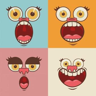 Facce di cartone animato