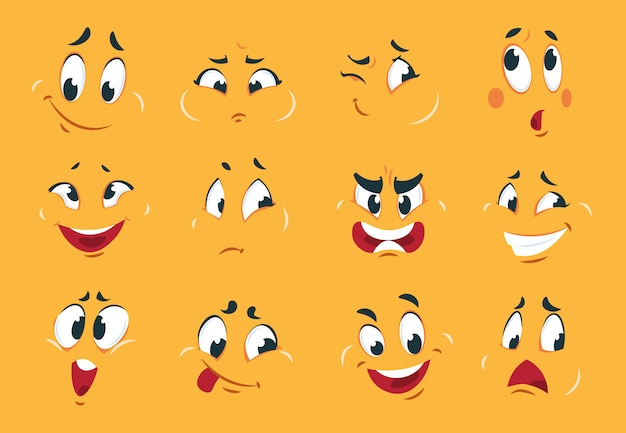 Facce divertenti del fumetto gli occhi di espressioni di carattere arrabbiato scarabocchiano la bocca pazza divertente schizzo strano fumetto. espressione di cartoni animati
