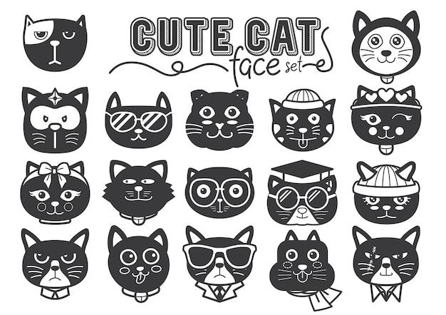 Facce simpatiche di gatti riempiono